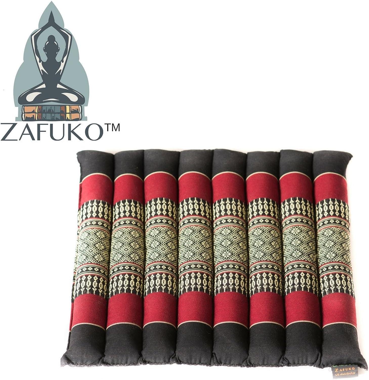 Zafuko Yoga, Meditation, Kundalini and Pilates Flat & Rollable Cushion (Zafu) for onThego Support, Floor Pillow, Adustable Prop  100% Organic Kapok Fiber Filling  17  x 14.5  x 1.5