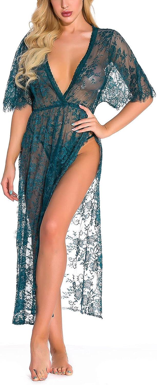 wodceeke Sexy Lingerie for Women Lace Cardigan Long Dress Side Split Nightdress V Neck Robe Underwear Sex Pajama Set 233