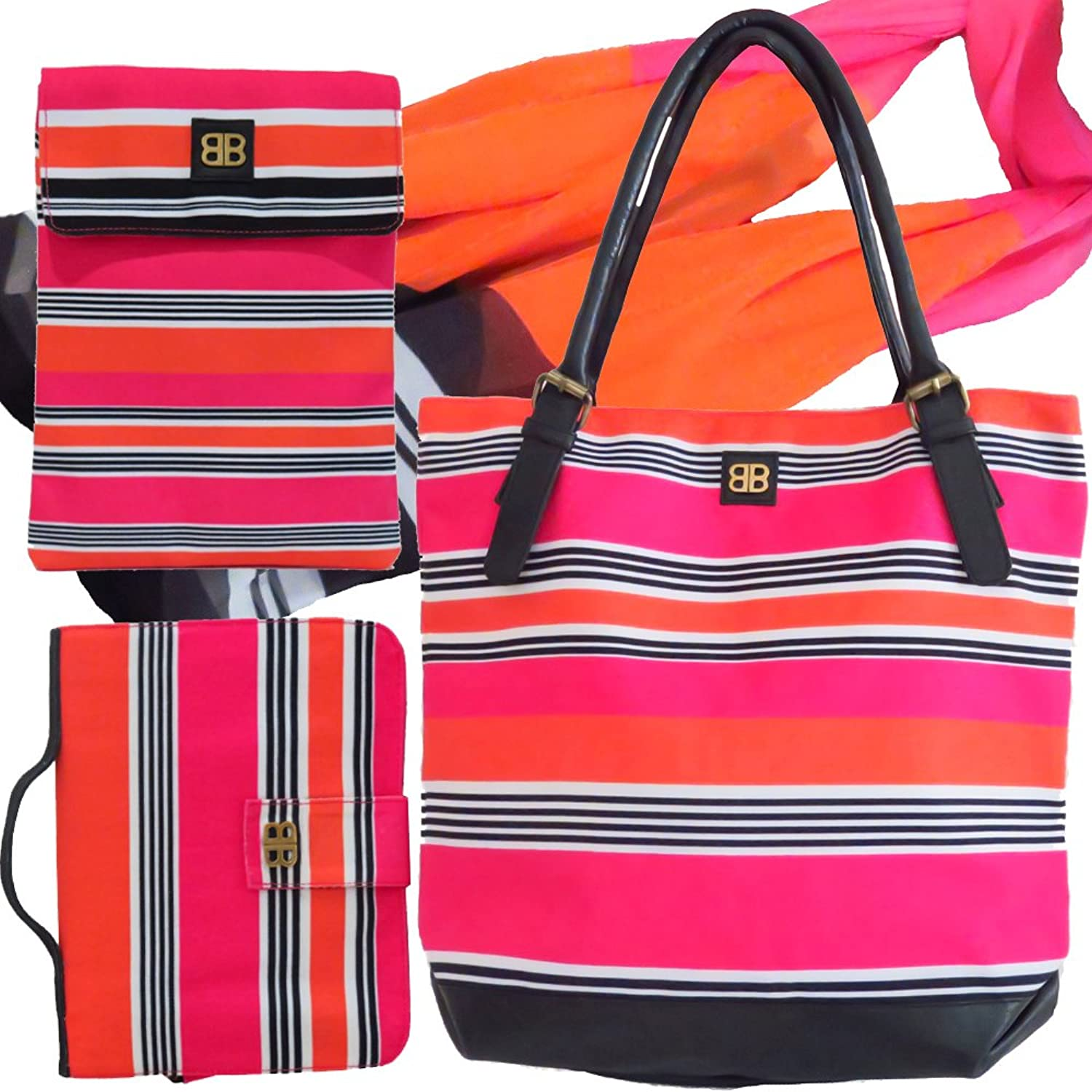Bagabook Candy Stripe Set Tote Bag Scarf Executive Book Bible Cover Ipad Tablet Pouch