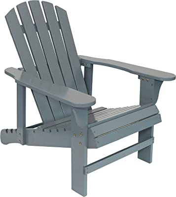 Sunnydaze Adirondack Chair with Adjustable Backrest - Natural Fir Wood Material - Outdoor Patio Chair - 250-Pound Weight Capacity - Gray