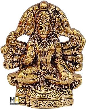 Radhika Gift Items Panchmukhi Hanuman ji Murti / Bajrangbali Murti Gift Article Decorative Showpiece - 16 cm (Metal, Multicol