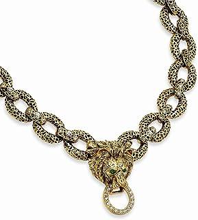 Kennedy - Collana da donna con leone anticato placcato oro