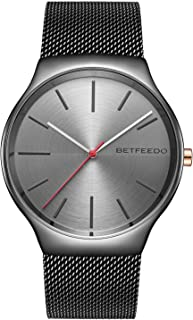 BETFEEDO Men's Ultra-Thin Analog Quartz Dress Wrist Watches for Men with Stainless Steel Mesh Band