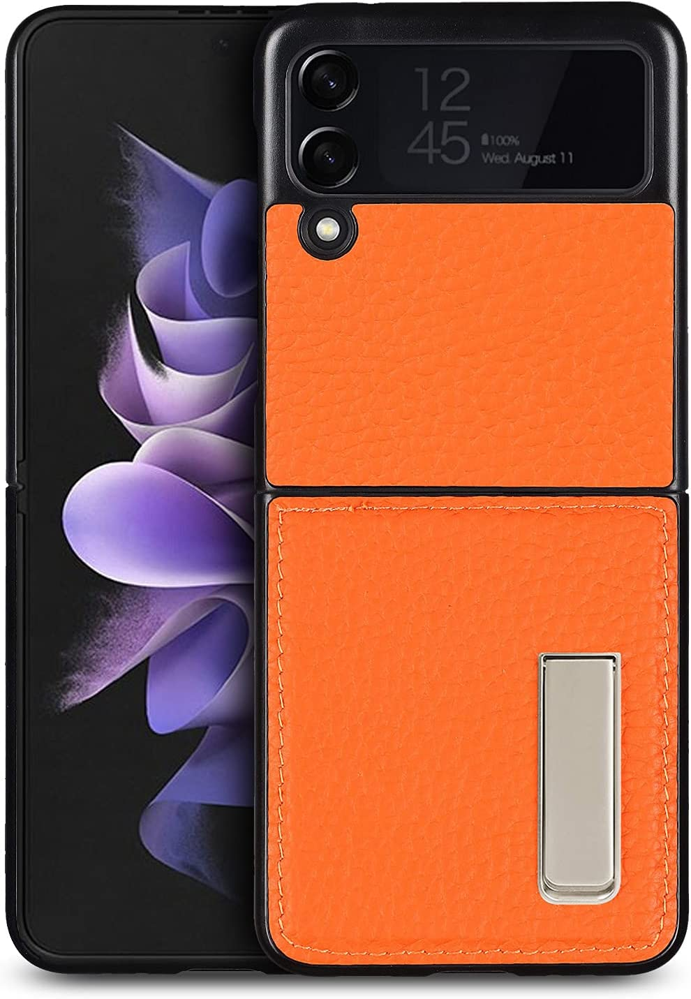 iCoverCase Designed for Samsung Galaxy Z Flip 3 5G Case (2021) with Stand, Magnetic Kickstand Ultra-Thin Genuine Leather Protective Case - (Orange)