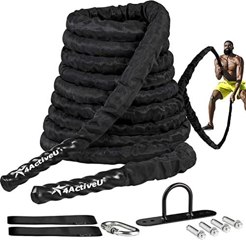 lowest 4ActiveU Battle Rope 30, 40, 50ft Length Heavy Battle Exercise Training outlet sale Rope Workout Rope Fitness Rope for Strength Training Home Gym Outdoor Cardio Workout, Anchor Included 1.5 wholesale Inch Diameter sale