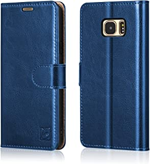Belemay Samsung Galaxy S7 Edge Case, Genuine Cowhide Leather Wallet Case, Flip Folio Book Cover Magnetic Closure, Kickstand, Card Holder Slots, Cash Pockets Compatible Samsung Galaxy S7 Edge, Blue