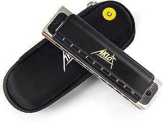 AKLOT Blues Armónica Harmonica Arpa diatónica de 10 orificios Clave de C Arpa de blues 20 tonos para adultos y niños con estuche rígido