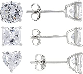 JTV-White Cubic Zirconia Rhodium Over Sterling Silver Stud Earrings Set of 3 6.78ctw