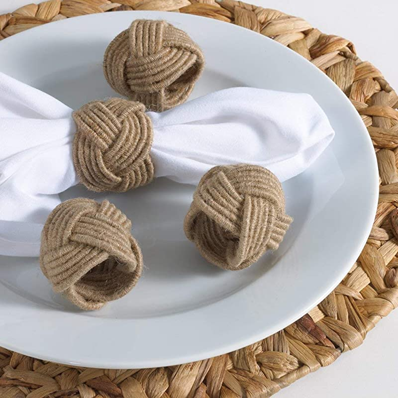 Jovial International Jute Napkin Ring Set Of 4 2 Inch Round Hand Made By Skilled Artisans A Beautiful Complement To Your Dinner Table D Cor
