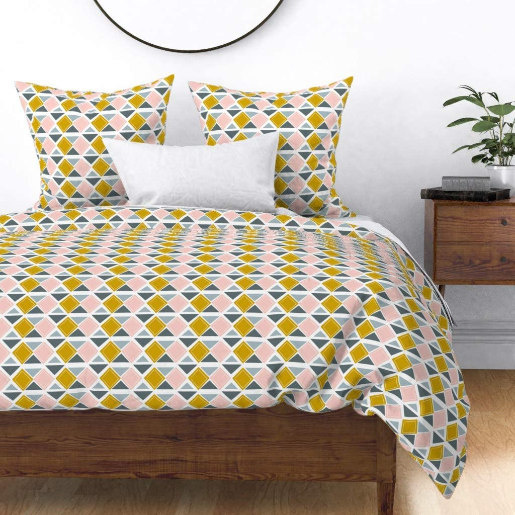 Roostery Elegant Duvet Cover Branded goods Nursery Diamond Tr Yellow Pink and Pattern