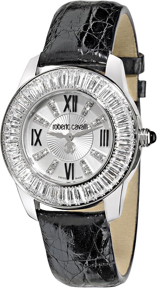 Roberto cavalli,orologio da donna,cassa in acciaio e cinturino in vera pelle di coccodrillo quadrante argento R7251147645