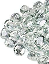 GASPRO 10lb Fire Glass Diamonds - Clear Luster 1inch Reflective Glass for Fire Pit and Landscaping