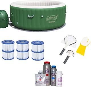 Bestway Coleman SaluSpa 6 Person Hot Tub + Filter 3 Pack, Cleaning + Bromine Kit