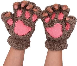 Witery Cute Winter Warm Cat Bear Paw Kitten Fingerless Plush Gloves For Girls Women