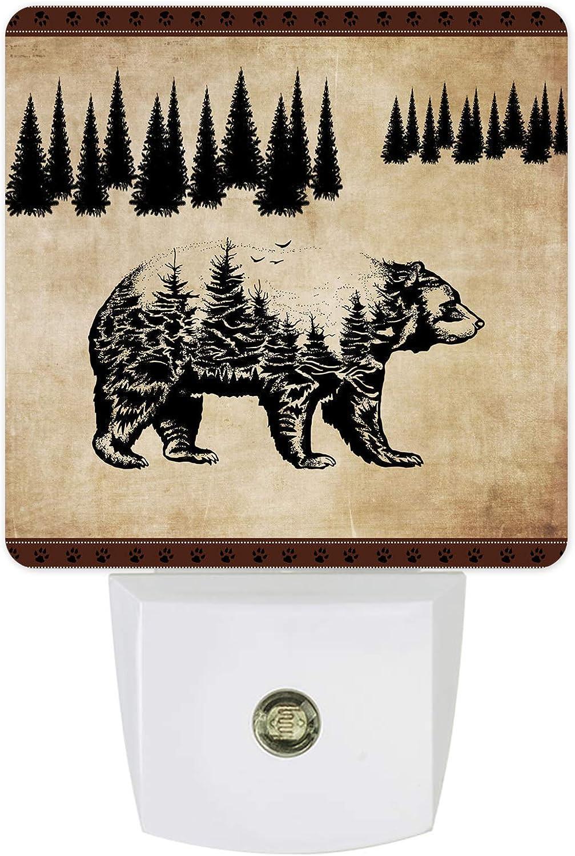 Night Light Plug-in - Bear Tree Pattern Nightlights Pine Max 83% OFF depot Vintage