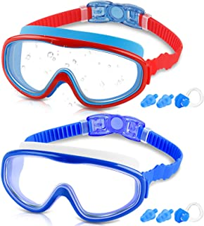 COOLOO Kids Goggles for Swimming for Age 3-15, 2 Pack Kids Swim Goggles with nose cover, No Leaking, Anti-Fog, Waterproof