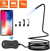 5.5mm Wireless Endoscope, KZYEE 2200mAh 1080P HD Zoomable WiFi Borescope Inspection Camera with 6 LED Lights & IP67 Waterproof Semi-Rigid Snake Tube for Android & iOS Smart Phone Tablet (16.5FT/5M)