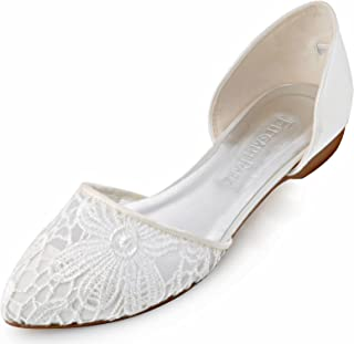 Women Comfort Heel Pointed Toe Lace Bridal Wedding Flats