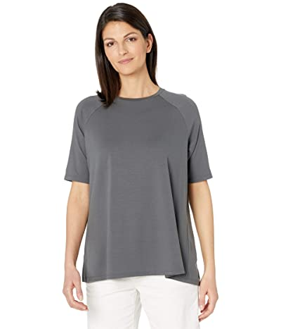 Eileen Fisher Fine Jersey Crew Neck Elbow Sleeve Top (Slate) Women