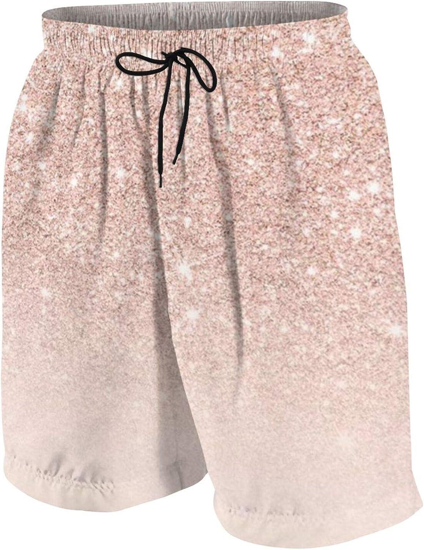 DLAWNECK Teen Boys Rose Gold Glitter Pink Swim Trunks Quick Dry Swimwear Bathing Suit with Mesh Lining