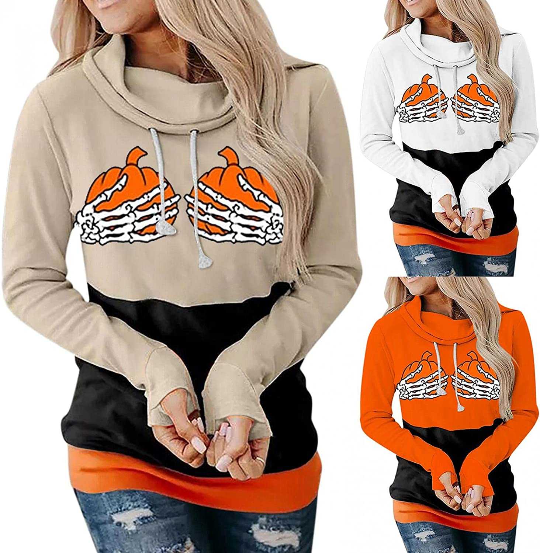 Womens Hoodies Plus Size,Womenss Pumpkin Print Halloween Sweatshirt Long Sleeve Hooded Pullover Tops Blouse