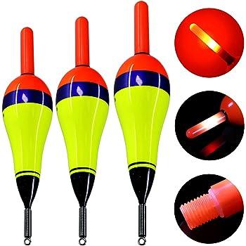 QualyQualy Electronic LED Fishing Floats Saltwater Sea Rock Fishing Floats 1//8oz 1//4oz 3//8oz Night Lighting Bobbers Luminous Fishing Floats 3 Pcs//Set