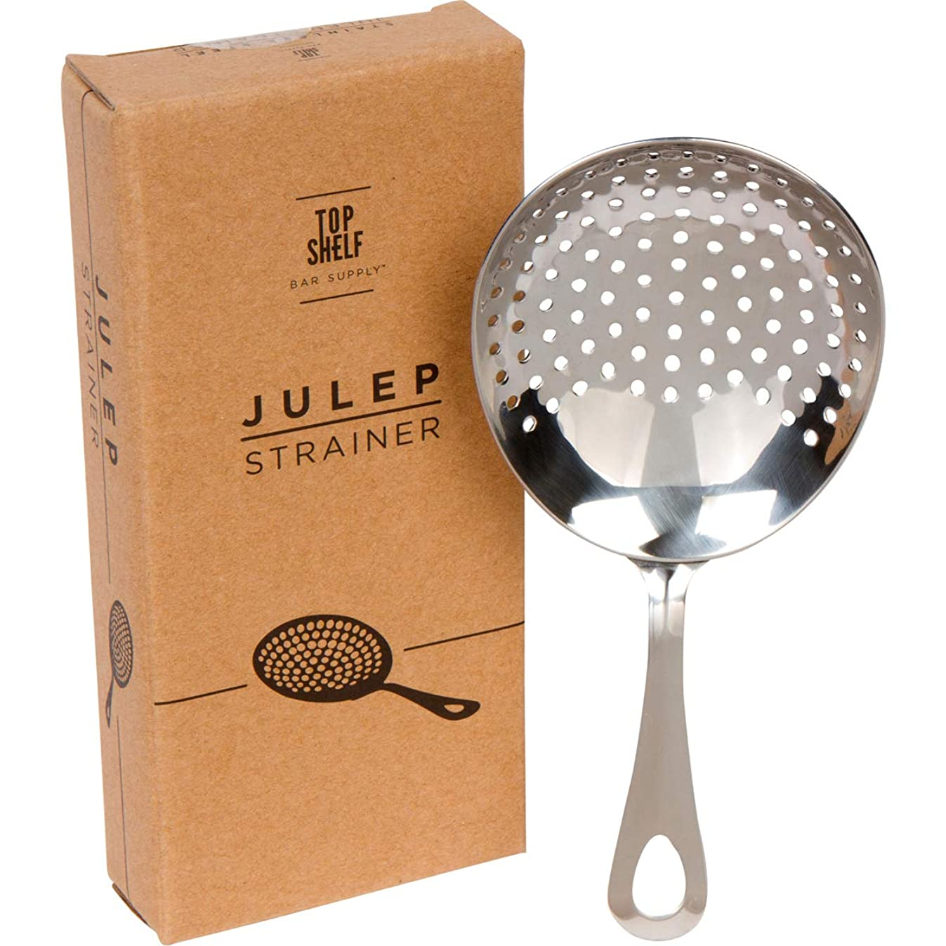 Julep Strainer: Stainless Steel SS304 Cocktail Strainer by Top Shelf Bar Supply