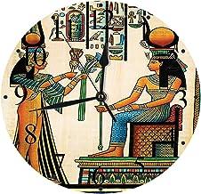 Yaoni Silencioso Wall Clock Decoración de hogar de Reloj de Redondo,Papiro Egipcio, Egipcio Antiguo Que representa a la Reina Nefertari con Obras de Arte del i,para Hogar, Sala de Estar, el Aula