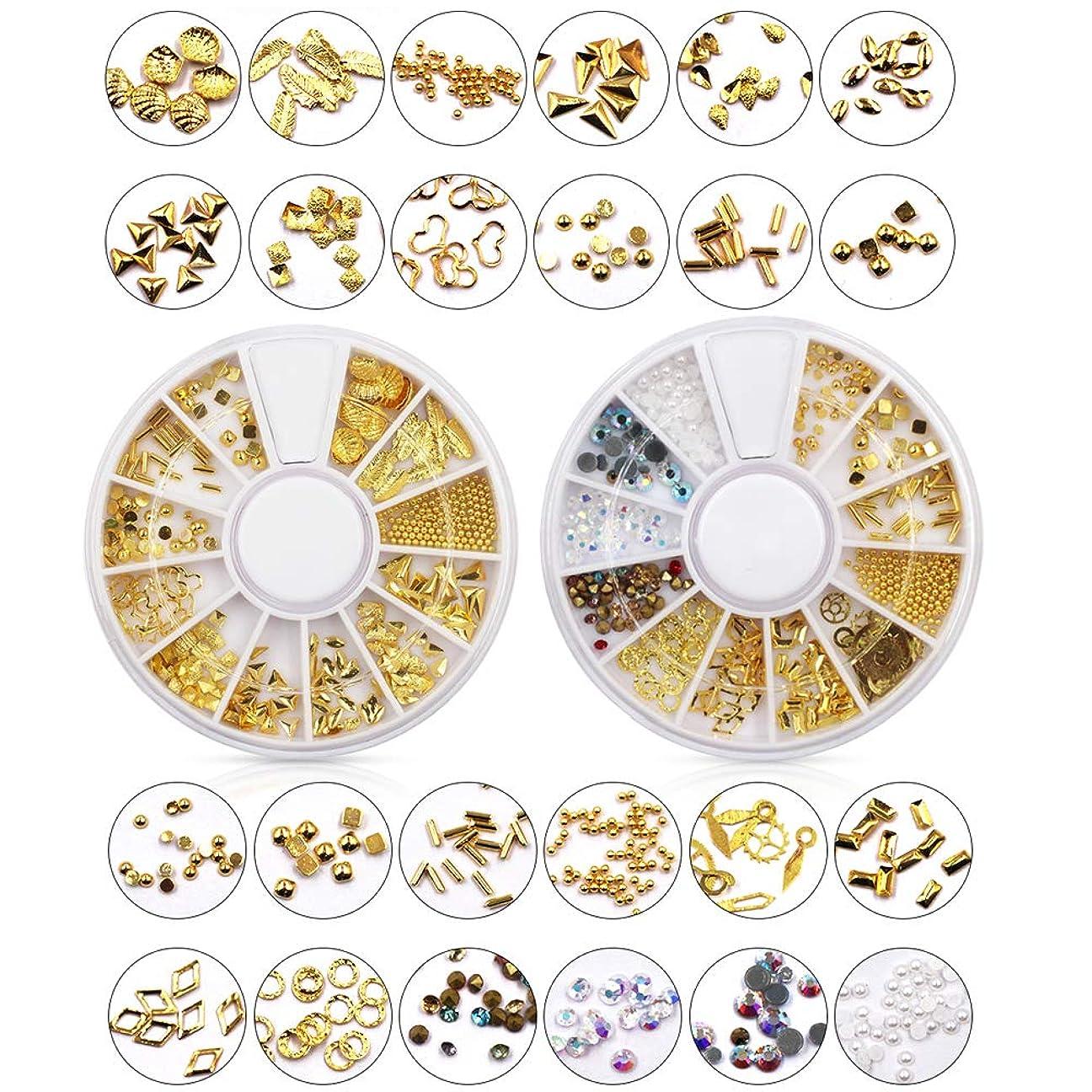 ヒゲに向かって抗生物質メーリンドス ネイルアートデザインパーツ ゴールドスタッズセット ジェルネイルレジン用 プロラインストーン&半円パール&合金 24種セット