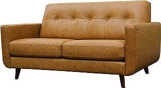 Rivet Sloane Modern Leather Loveseat with Tufted Back, 64.2