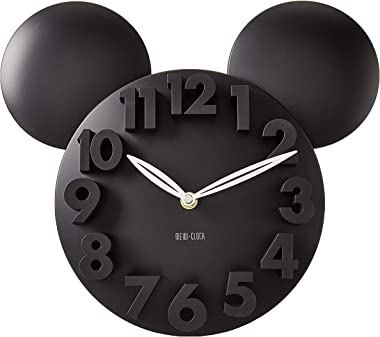 MEIDI CLOCK Modern Design Mickey Mouse Big Digit 3D Wall Clock Home Decor Decoration - Black