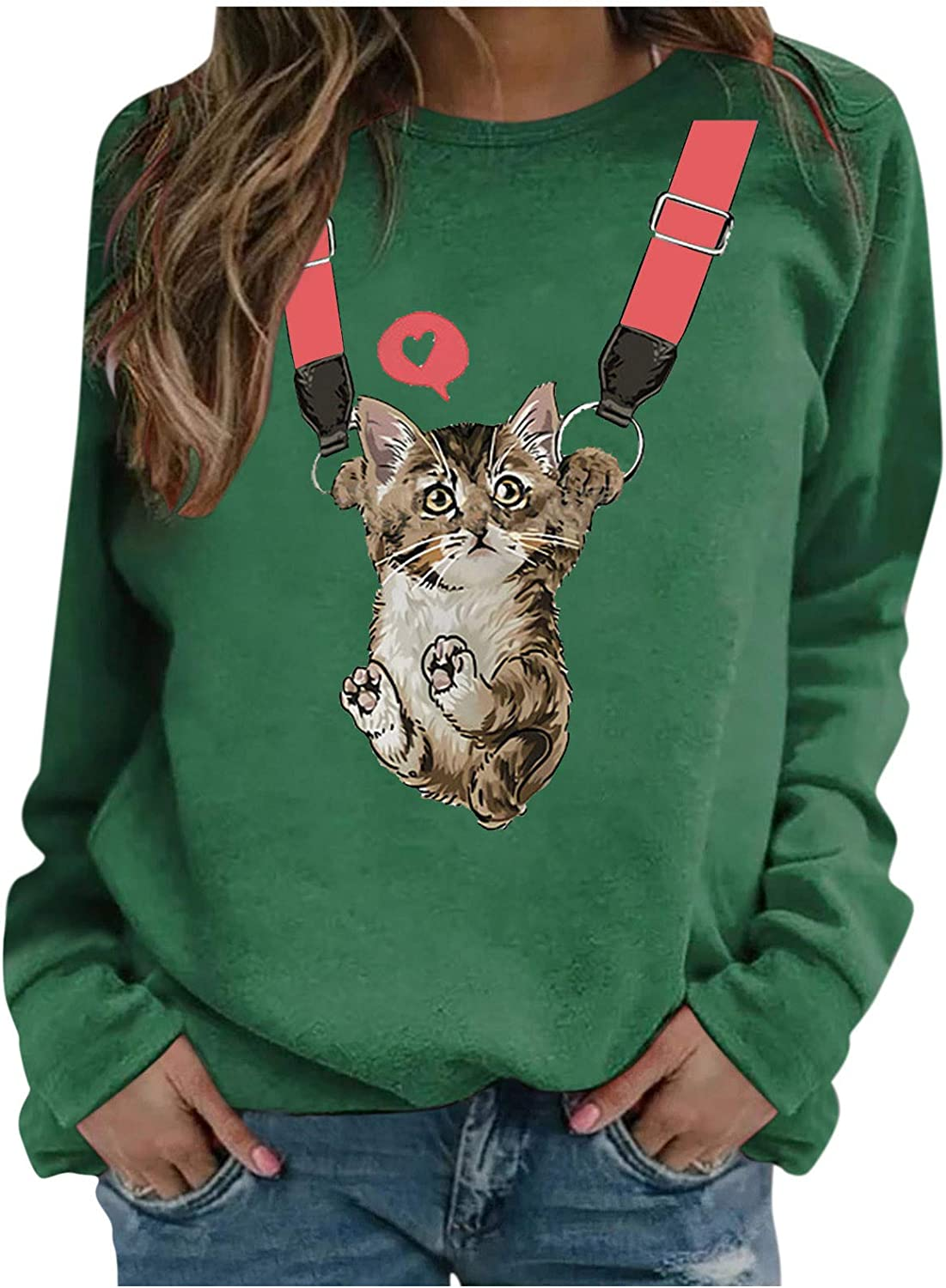 Animal Sweatshirt for Women Cute excellence Little S Direct store Pattern Pullover Cat T