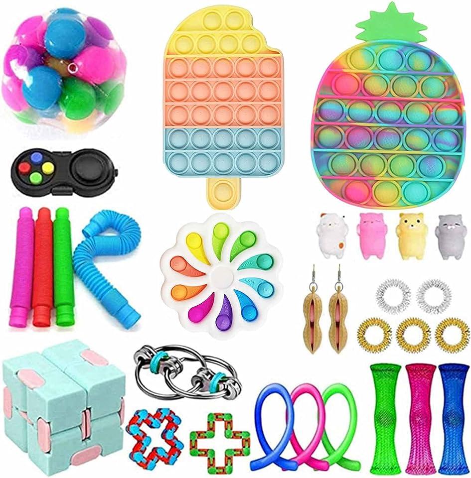 Sensory Fidget Toy Set Anti-Stress Spielzeug Toy Zappeln Spielzeug, Push Bubble Pop Stress Relief Spielzeug Sensorische Fidget Toys für Kinder Erwachsene