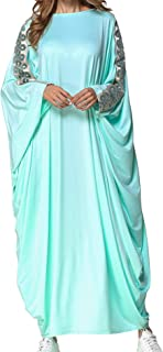Qianliniuinc Women Muslim Islamic Long Dress-Bat Sleeve Plus Size Abaya Kaftan Clothing Moroccan Dubai Gown