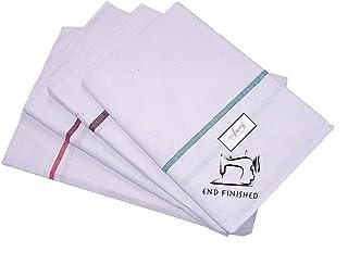 mylooms Multipurpose Cotton Kerala Bath Towels (White, 55X29-inch) - Set of 5 Pieces