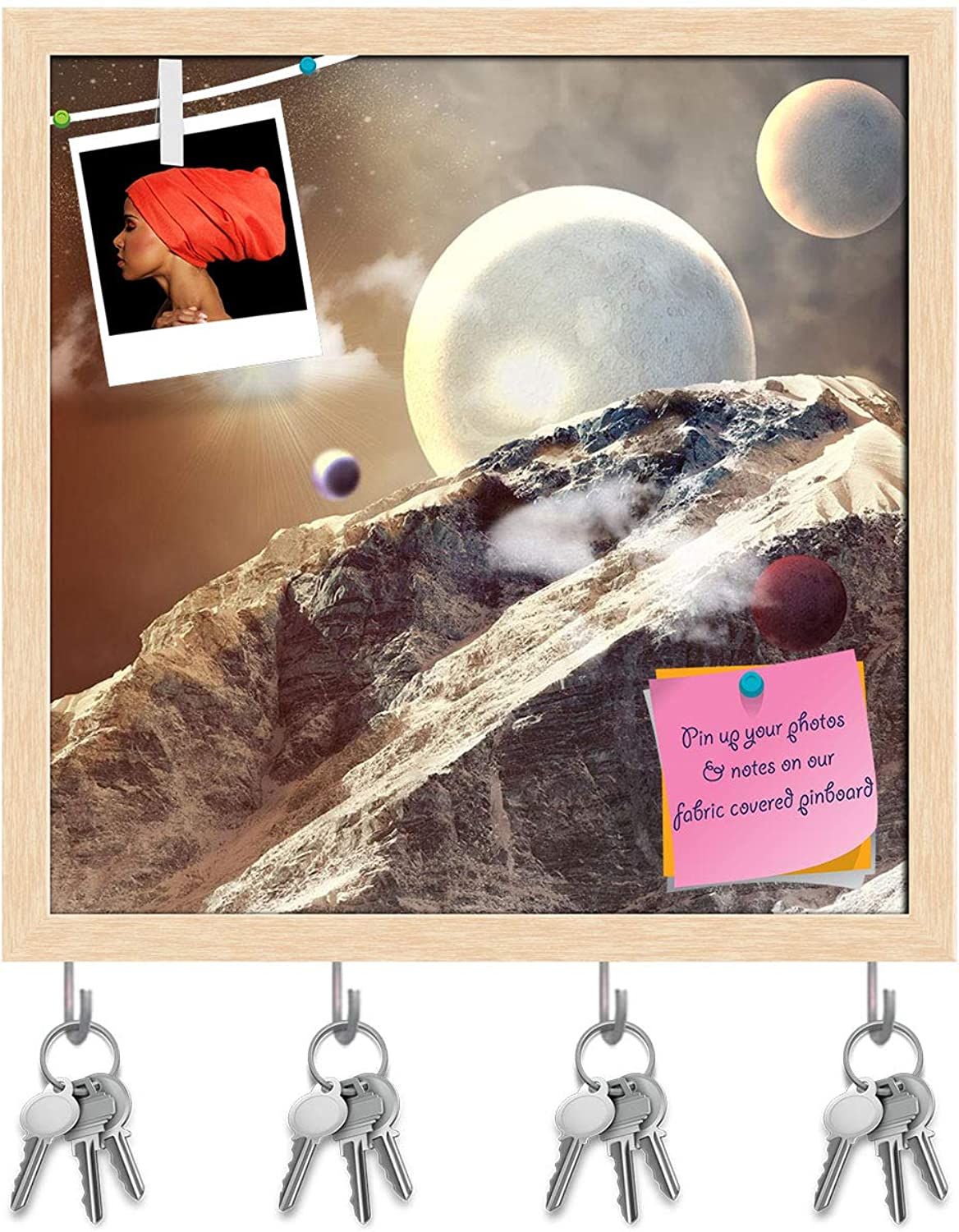 Artzfolio Planets in Fantastic Space D2 Key Holder Hooks   Notice Pin Board   Natural Brown Frame 20 X 20Inch