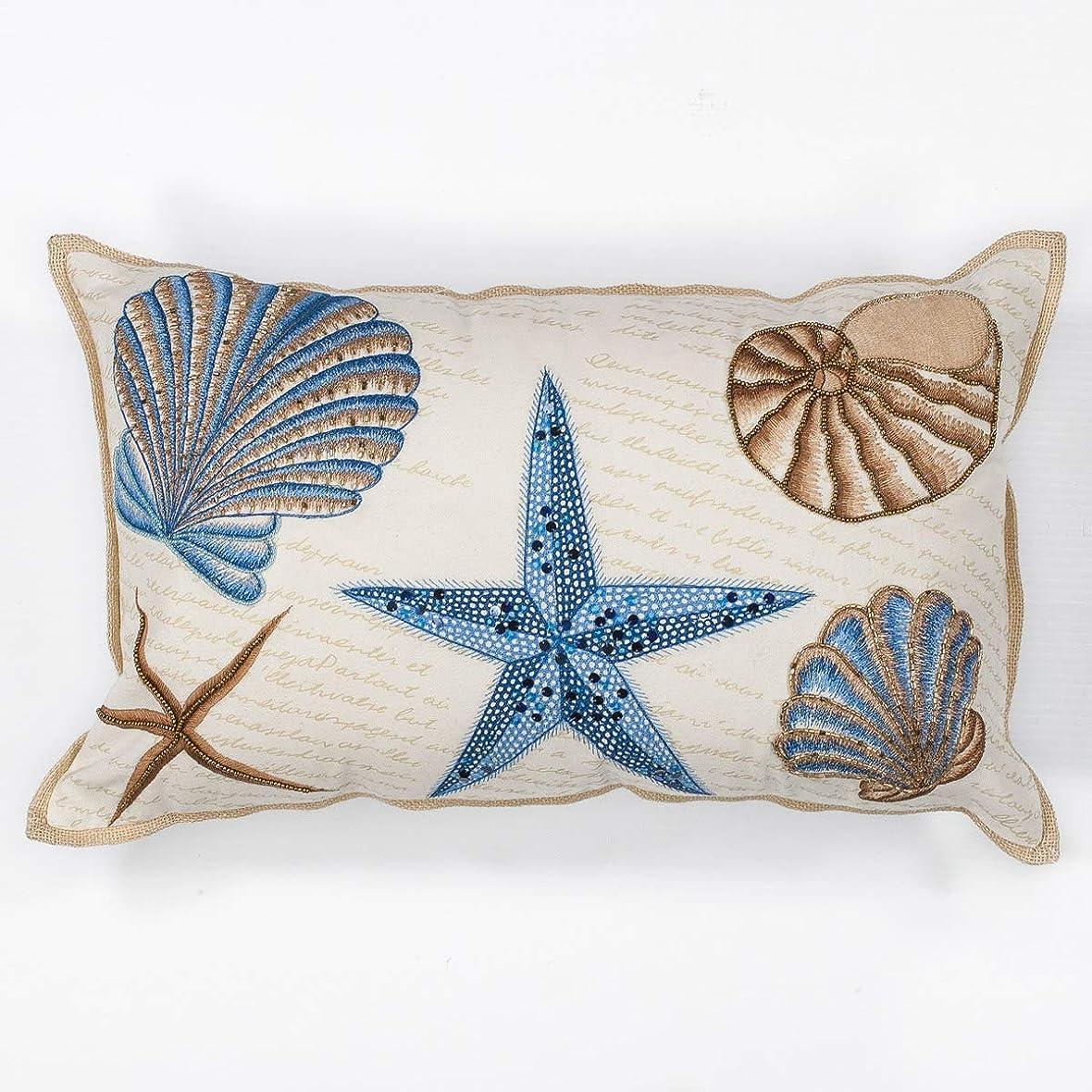 彼間違いなく事実Bella Coastal Decor ブルー&タン 貝殻 クッション