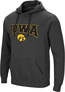 Colosseum Men's NCAA-Scoreboard-Dual Blend-Fleece Hoodie Pullover Sweatshirt with Tackle Twill Embroidered Team Name and Logo-Charcoal