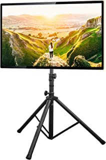 5Rcom TV Tripod Display Portable Floor TV Stand Height Adjustable Fits Most 32-70 Inch LCD LED Flat/Curved Screen TVs up to 100 Lbs, Swivel and Tilt Mount with Max VESA 600x400mm, Black