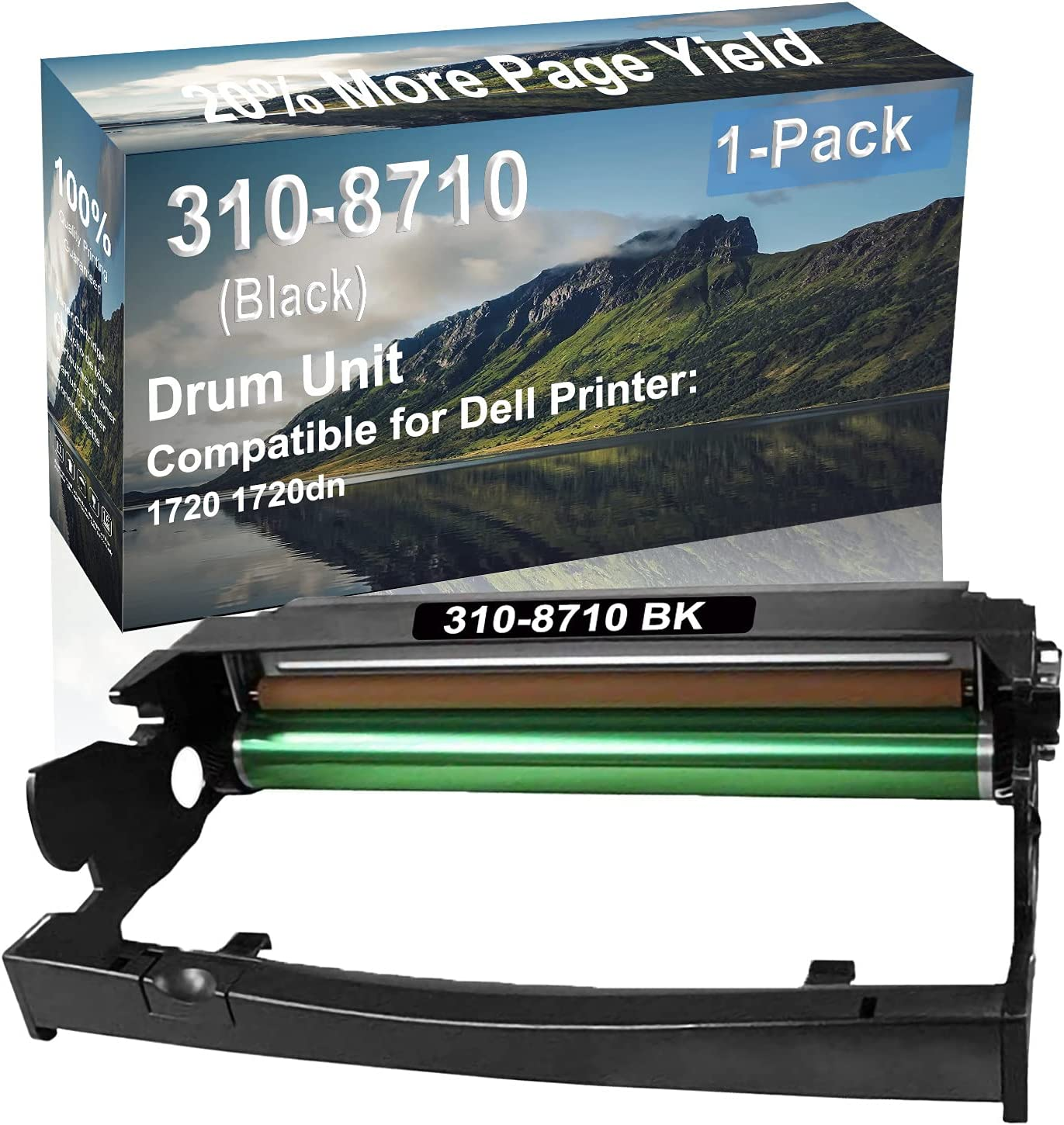 1-Pack Compatible Drum Unit (Black) Replacement for Dell 310-8710 Drum Kit use for Dell 1720 1720dn Printer