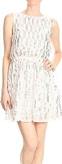 Womens Backless Sleeveless Sequin Stripe Mini Dress with Deep V Back