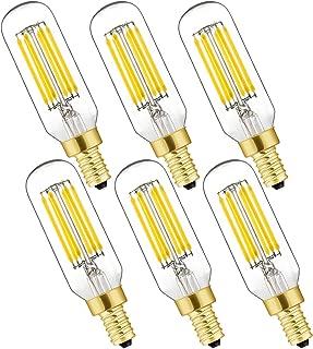 LEOOLS Dimmable T6 LED Bulb 40w 60watt Equivalent Candelabra led 4000K Daylight Clear 600lm 6W E12 Edison Bulb 6Pack