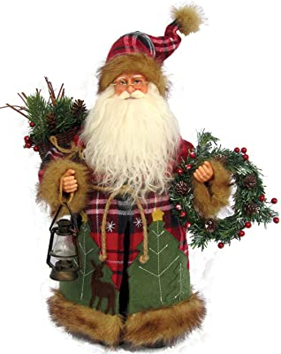 Amazon Com Santa S Workshop Plaid Wilderness Claus Figurine 15 Tall Red White Green Home Kitchen