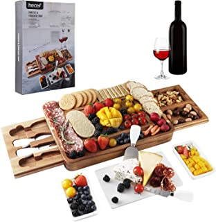 hecef Acacia Wood Cheese Board Set, Square Cheese Platter with 2 Slide-Out Drawers& Cutlery Set& Snack Plates& Marble Chee...