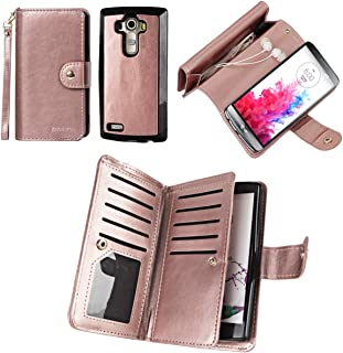 PS01 [Upgrade] 2 in 1 Leading Design Top Notch Bifold Magnetic Car Mount Phone Holder Compatible Folio Leather Wallet Case Cover for LG G4