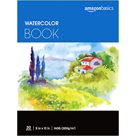 "Amazon Basics Watercolor Pad, 9""x12"", 140 lb. / 300 gsm, 30 Sheets"