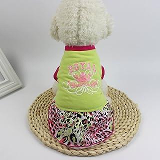 Laihui - Vestido con estampado de leopardo para mascota, perro, gato, primavera, verano, vestido de fiesta con tutú, chaleco, camisa, vestido de princesa de moda, adecuado para mascotas grandes, medianas y pequeñas, Verde, Mediano
