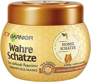 GARNIER Wahre Schätze Haar-Maske / Haarkur für intensive Haarpflege / Bewahrt den Farbglanz (mit Gelée Royale, Bienenbalsa...