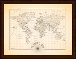 The World is Yours Vintage Antique Push Pin World Map