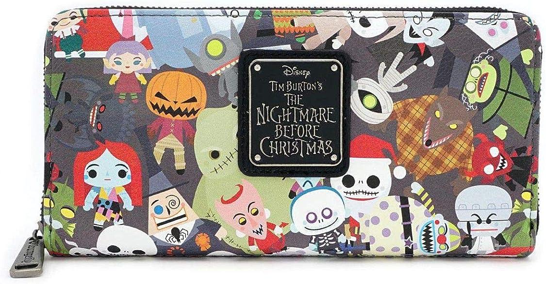 Loungefly x Nightmare Before Christmas Chibi Character Print Zip-Around Wallet